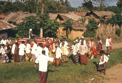 Ejagham people (members of Qua clan) perform Obon dance procession, Big Qua Town, Nigeria. [slide]