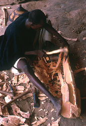 Dolo, a blacksmith and woodcarver, making a Kanaga mask, Ogol du Haut village, Mali, [slide]