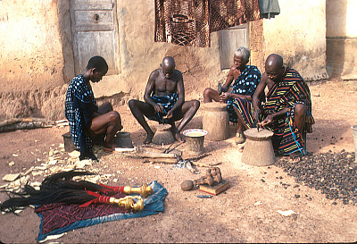 Baule woodcarvers at work, Yagolikro village, Ivory Coast, [slide]