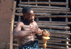 Konan Yao, a Baule sculptor at work, Yagolikro village, Ivory Coast, [slide]
