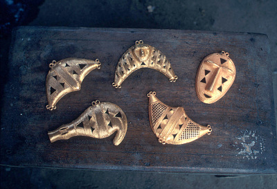Pendant heads made by Kyaman goldsmith, Anna village, Ivory Coast, [slide]