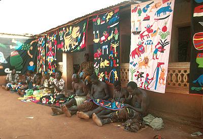 Appliqué workers, in street, Abomey, Benin, [slide]