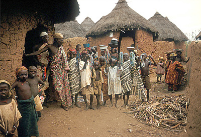 Nupe people displaying traditional glass beads, Bida, Nigeria. [slide]