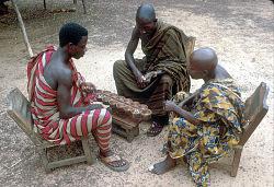 Asante men playing Wari, Besease, Ghana, [slide]