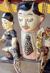 Modern painted figure carved by Anang (Ibibio) artist, Ede, Nigeria