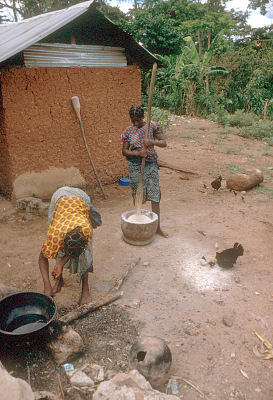 Yoruba women preparing meal, near Ife, Nigeria, [slide]