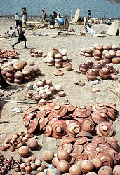 Women selling potteries at the market, Mopti, Mali, [slide]