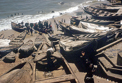 Fishing boats on the beach in Jamestown, oldest section of the city, Accra, Ghana, [slide]