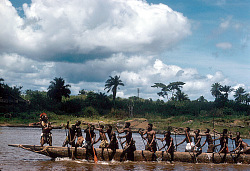 Joint canoeing to the fish-traps in the cataracts, near Kisangani, Congo (Democratic Republic), [slide]