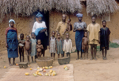 Yoruba farmer, Michael Ige, with members of his family, Adamo village, Nigeria. [slide]
