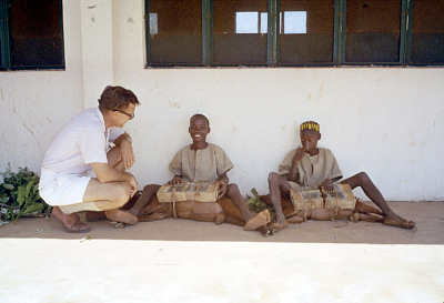 Fulbe boys assisting in medical experiment at the West African Institute for Trypanosomiasis Research, Kaduna, Nigeria. [slide]
