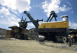 Shovel at work, Kamoto open pit copper mine, Kolwezi, Congo (Democratic Republic), [slide]