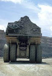 100-ton truck at work, Kamoto open pit copper mine, Kolwezi, Congo (Democratic Republic), [slide]