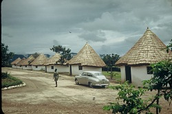 Tourist lodgings at Rwindi Camp, Virunga National Park, Congo (Democratic Republic), [slide]