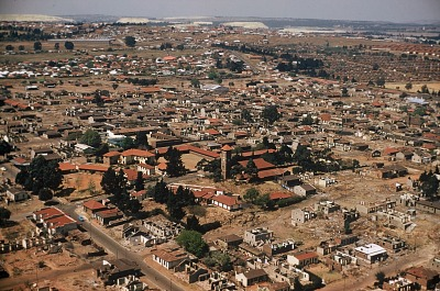 Aerial view of Anglican Church of Christ the King, Sophiatown, Johannesburg, South Africa, [slide]
