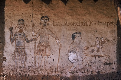 Mural painting among the Dakpa people, Ubangi-Shari region, Central African Republic. [slide]
