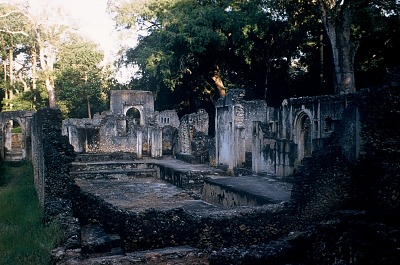 The audience court and seat of sheikh at the Palace, ruins of the walled city of Gedi, south of Malindi, Kenya. [slide]