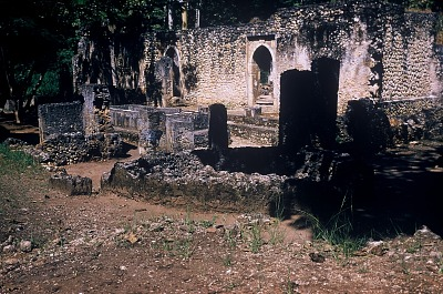 The Great Mosque, ruins of the walled city of Gedi, south of Malindi, Kenya. [slide]