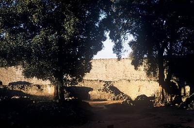 Inside view of the outer wall of the Great Enclosure at Great Zimbabwe, between the Zambezi and Limpopo Rivers, Zimbabwe. [slide]