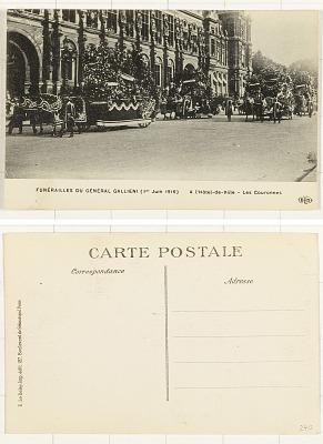Funérailles du Général Gallieni (1er Juin 1916) [postcard] : AL'Hôtel de Ville - Les Couronnes