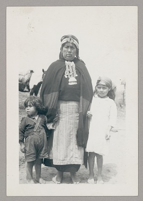 Woman in Native Dress with Two Children n.d