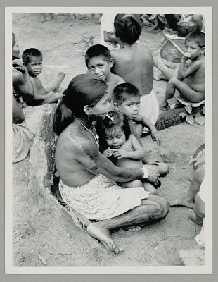 Tucano? Women and Children in Native Dress, One Woman with Face and Body Paint 1946