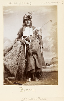 Portrait of Young Man with Face Paint and in Native Dress, Wearing Fur Hat, Hairpipe Breastplate, Bow, and Fur Quiver 1867-75