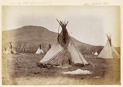 Camp of Tipis at Base of Mount Scott Near Fort Sill. 1867-73