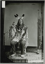 Man in Native Dress (Son of the Star ? or Rushing Bear ?) Showing Sign Language Gesture 1880