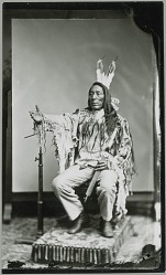 Man (Lean Wolf ?) in Partial Native Dress, Making Sign Language Gesture 1880