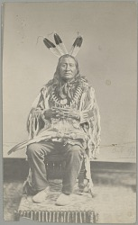 Man in Native Dress (Son of the Star ? or Running Bear ?) Showing Sign Language Gesture 1880