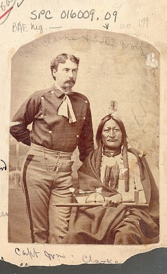 Portrait of Lieutenant William P Clarke in Military Uniform And with Chief Little Wolf in Partial Native Dress and with Peace ? Medal and Pipe 1879