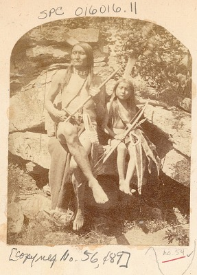 Man and Boy in Native Dress and with Pipe, Pipe Bag, Bow And Arrows 1875