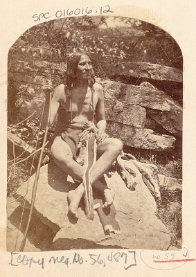 Man, Little Bear ?, in Native Dress and with Bow 1875