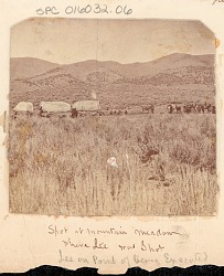 Non-Native Group with Covered Wagons and Horses at Site Where Bishop John D. Lee Led Massacre of Wagon Train of 170 Immigrants from Arkansas and Missouri; Site Where Lee Was Later Executed for his Crime n.d