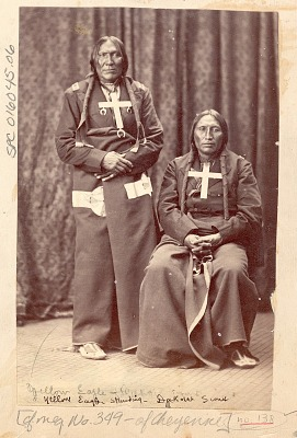 Portrait of Chief Hahki-Oomah, Called Little Robe and White Horse in Partial Native Dress and with Metal Cross Necklaces 1871