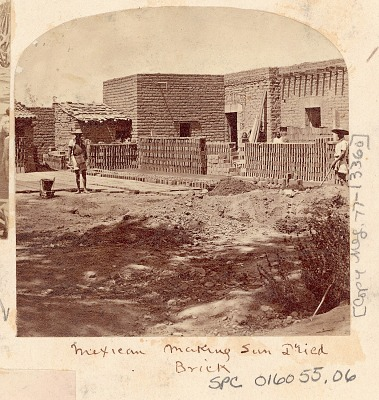 Two Men in Costume Making Clay Bricks and Setting Bricks Out to Dry?, Outside Brick House; Two Women Nearby n.d