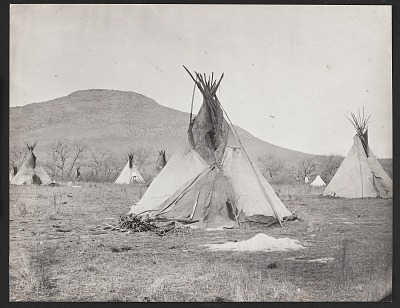 Pacer's Camp (Mount Scott in Distance) Near Fort Sill. 1867-73