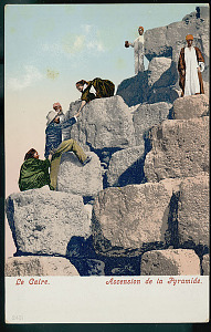 images for Group of Men, Dragomans, Hailing Tourist, Non-Native Man, Up Stone Block to Top Pyramid of Khufu (Cheops) (2251-2528 BC) or Great Pyramid 1904-thumbnail 1