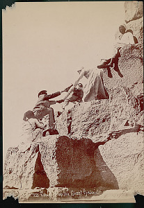 images for Group of Egyptian Men, Dragomans, Hauling Tourists, Non-Native Man, Up Stone Blocks to Top of Pyramid of Khufu (Cheops) (2551-2528 BC) or Great Pyramid 1868-thumbnail 2