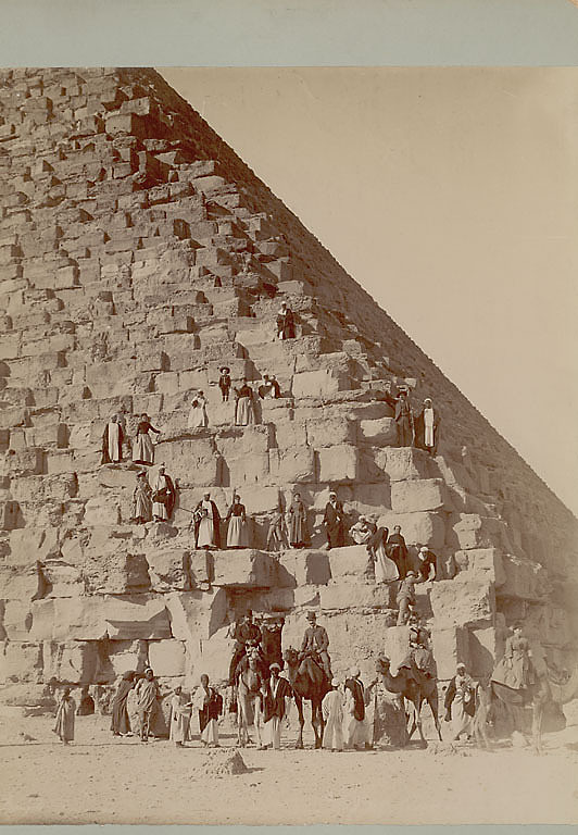 images for Non-Native Group, Some on Camels, and Group of Men, Dragomans, in Costume on or Near Stone Blocks of Pyramid 1865