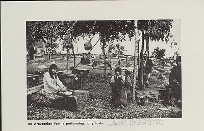 Family Group in Costume Outside Plank House Under Trees; One Woman Grinding with Mano and Metate; Baskets and Utensils Nearby n.d