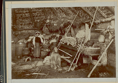 View Inside Ruka (Pole and Thatch House) Showing Young Woman Near Aged Woman Weaving on Vertical Loom Suspended from Roof Beam; Wood Barrels, Pots, Baskets, Animal Skins, and Drying Herbs on Floor, and Walls and Table 1916