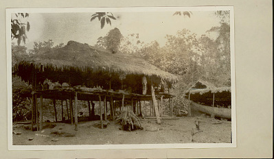 Choco Platform House with Thatch Roof and Notched Pole Ladders 1923