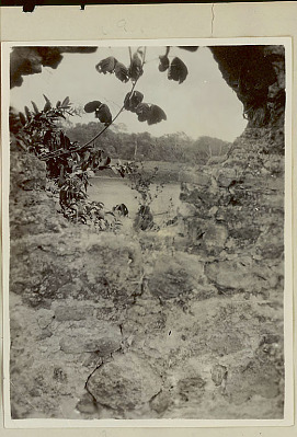 View of Panama River Through Gap in Stone Wall 1923