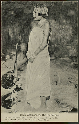 Young Woman, 18-20 Years Old, with Boy Paint and in Costume At River's Edge (Profile) 1904