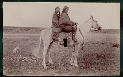 Man and Woman in Costume and on Horseback in Field; Two Dogs Nearby FEB 1898