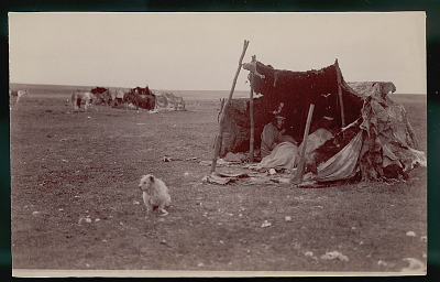 Group in Costume Inside Toldo (Skin and Pole Tent); Meat Drying on Pole; Toldos and Horses in Background JAN 1898