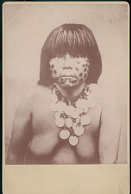 Portrait of Young Woman, Cannibal, Wearing Face Paint, Nose Ring , Labret, and Bead and Coin Necklace 1893
