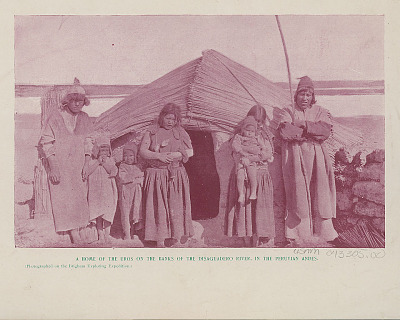 Uru Group in Costume Outside Plastered Sod House with Thatch Roof 1894